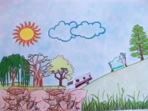 """Ilustración del cuento """"Uno con ruedas"""" hecha por Carolina Cano y Lucía Flores"""